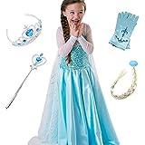 FStory&Winyee Kinder Kostüm Eiskönigin Mädchen Prinzessin Kleid ELSA Glanz Kleid Blau Verkleidung Karneval Party Kostüme Weihnachten Halloween Fest