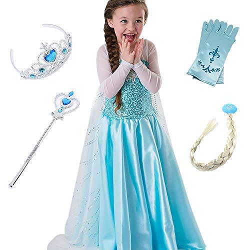 FStory&Winyee Kinder Kostüm Eiskönigin Mädchen Prinzessin Kleid ELSA Glanz Kleid Blau Verkleidung Karneval Party Kostüme Weihnachten Halloween Fest (Halloween Barbie Puppe Kostüm)