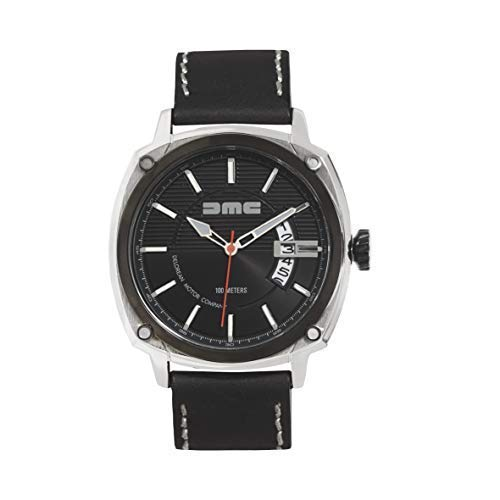DMC DeLorean - Reloj de pulsera alfa para hombre   DeLorean Motor Company   Caja de acero inoxidable de 44 mm con bisel y corona IP negro   Resistente al agua y los arañazos de 100 m   Esfera negra