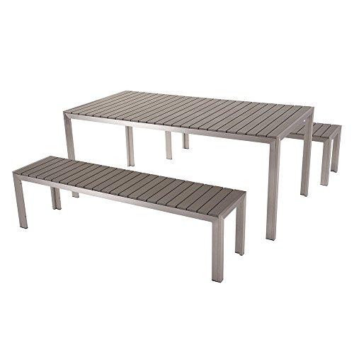 Aluminium Gartenmöbel Set grau - Tisch 180cm - 2 Bänken - Polywood - NARDO