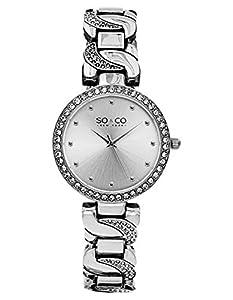 SO & CO New York - Reloj de pulsera analógico para mujer, correa de chapado en acero inoxidable de SO & CO New York