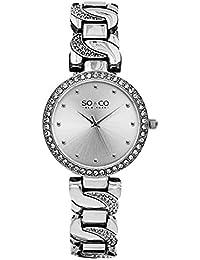 SO & CO New York - Reloj de pulsera analógico para mujer, correa de chapado en acero inoxidable