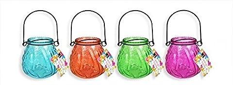 Bello Hanging Jar Glass Candle Tea Light Holder Lantern Garden Lights (Set of 4 Assorted)