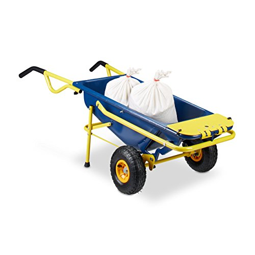 Relaxdays Sackkarre 8-in-1, Multifunktionale Schubkarre, 65 L, Müllsackständer, 136 kg, blau/gelb