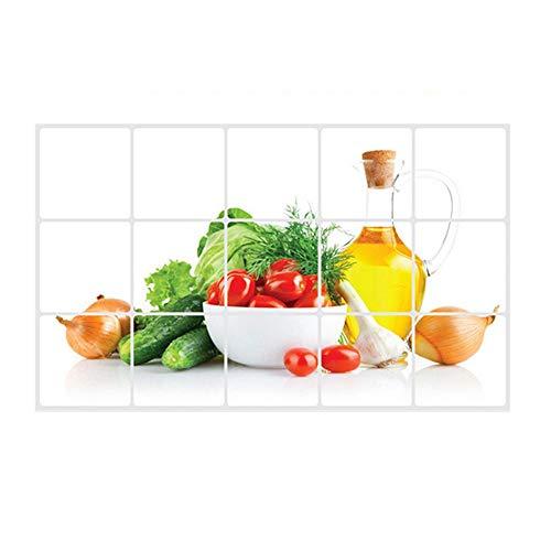 Abnehmbare Fliesen-Aufkleber für die Küche, Öl-resistentes Abziehbild, hitzebeständig, wasserdicht, aus Aluminiumfolie, Esszimmer-Dekoration, mehrfarbig