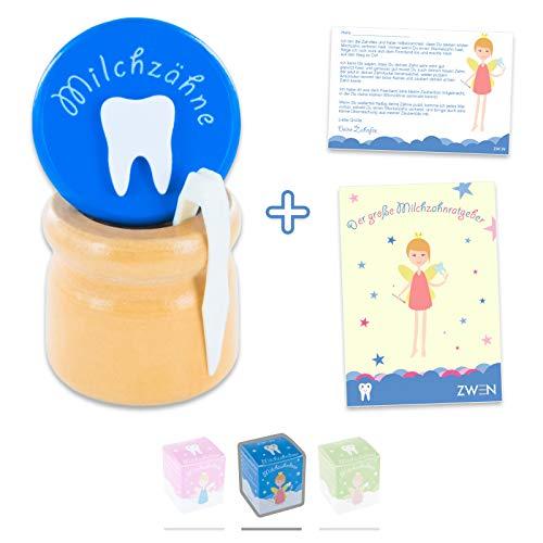 ZWEN MILCHZAHNDOSE Holz Schraubverschluss, Pinzette & Zahnfee-Brief + E-BOOK // Milchzahnbox für Mädchen & Jungen (Blau)