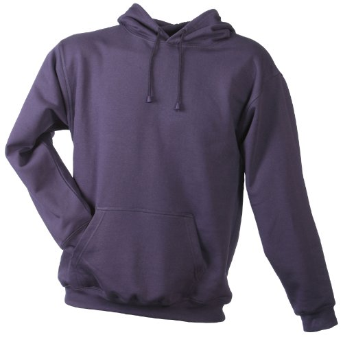 James & Nicholson Herren Sweatshirt Hooded Sweat Rot (aubergine) Small Twill Hooded Fleece-sweatshirt