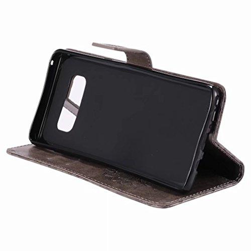 LEMORRY Samsung Galaxy Note8 Custodia Pelle Cuoio Flip Portafoglio Borsa Sottile Bumper Protettivo Magnetico Morbido Silicone TPU Cover Custodia per Galaxy Note 8, Fiorire (Blu) Grigio