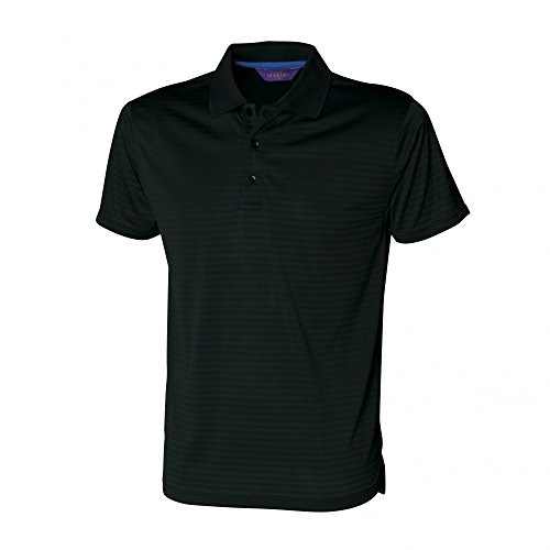 W473 Cooltouch Textured Stripe Polo Polohemd Poloshirt Black