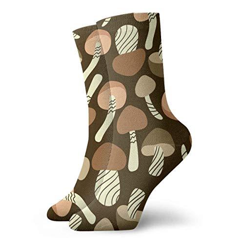 Estrange Mushroom Art Pattern Short Crew Socks Casual Athletic Sports Crew Tube Socks For Men&Women