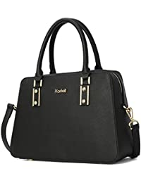 Kadell Women Vintage Pu Leather Handbags Tote Satchel Shoulder Bag Top Handle Purse Black