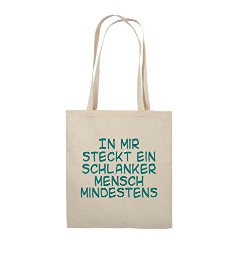 Comedy Bags - In mir steckt ein schlanker Mensch mindestens - Jutebeutel - lange Henkel - 38x42cm - Farbe: Schwarz / Silber Natural / Türkis