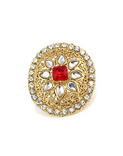 Bindhani Gold Plated Kundan Finger Ring For Women (Adjustable, Red)  available at amazon for Rs.210