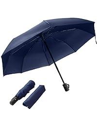 Paraguas automático Paraguas de Viaje Plegable con Apertura y Cierre automático Paraguas Negro antiviento, Compacto y ligeroTejido de