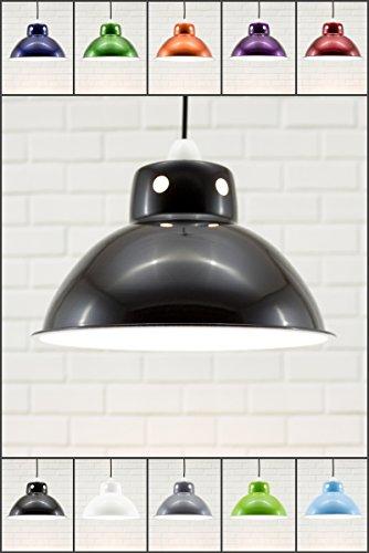 Chrome Island Light (Funky Cafe Style Retro Deckenleuchte Anhänger Metall Schatten, moderne Industrielle Vintage Look, 300mm Durchmesser - schwarz / weiß)
