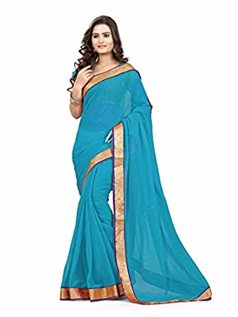 Sky Blue Party Wear Saree Zari Stone Work Chiffon Sari