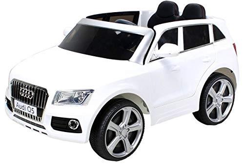 *Kinder Elektroauto Audi Q5 Lizenziert – Ledersitz, 2 x 35 Watt Motor (Weiß)*