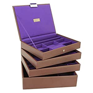 ** NEW for 2013 **Brown with Purple Lining Stackers Jewellery Box Set Includes all 4 trays as Shown Medium Size 25 x 18 cm