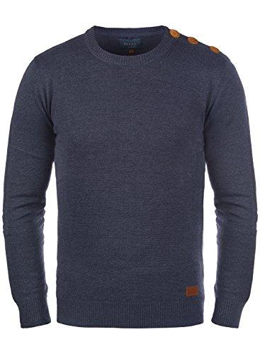 Blend Louis Herren Strickpullover Feinstrick Pullover Mit Rundhals Und Schulter-Knopfleiste, Größe:XL, Farbe:Navy (70230) (Louis Prima Halloween)