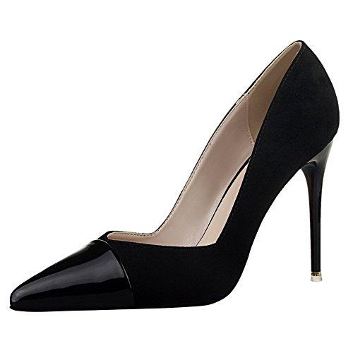 Adee Damen Sexy pointed-toe Patent Leder Pumpen Schuhe Schwarz