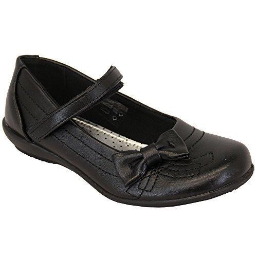Filles Enfants Allure Cuir Chaussures Écolier Velcro Noir - TOURBILLON