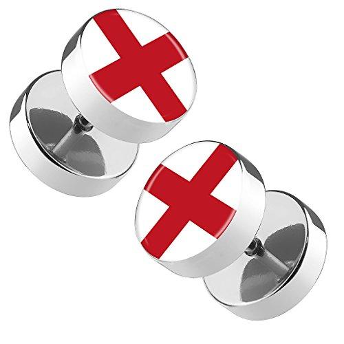 Piersando Ohrringe Fake Ohr Plug Flesh Tunnel Piercing Ohrstecker Stecker Stab Runde Platte Fussball EM & WM Länderflagge Fanartikel Land Flagge England