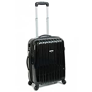 Karabar Cabin Approved Hard Suitcase 55 x 38 x 20 cm all parts included - 3 Years Warranty! (Black\Black)
