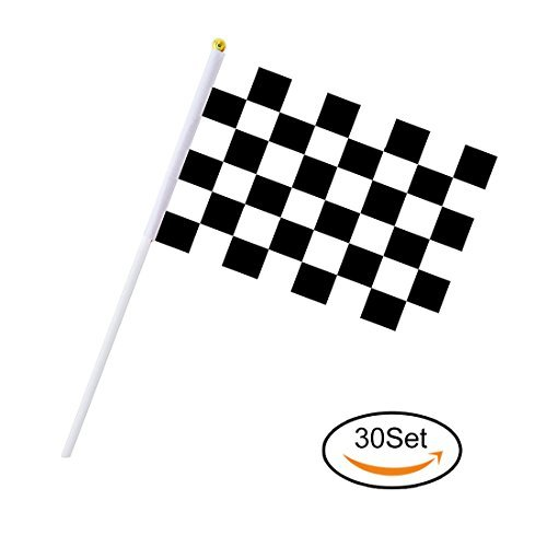 Cloud-X 30 Stück Checkered Flaggen 20,3 x 14 cm Racing Flaggen aus Polyester mit Kunststoff-Sticks Schwarz & Weiß Racing Flagge für Racing, Race Auto Party, Sport Events