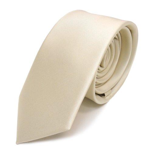 TigerTie Schmale Satin Krawatte creme beige elfenbein uni - Binder Schlips