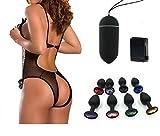 Sexandtoy® Kit serata hot sexy toy sesso anale notte: OVULO VIBRANTE VIBRATORE NERO + PLUG ANALE SILICONE CON CRISTALLO