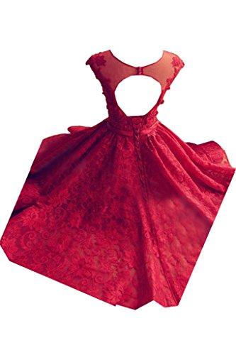 Ivydressing Damen Modern Rundkragen Spitze&Tuell A-Linie Kurz Partykleid Promkleid Festkleid Abendkleid Blau