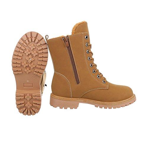 femme et Chaussures bottines lacet Bottines Bloc Bottes à Braun Ital Design wRR1qdF