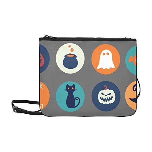 Halloween Sammlung Runde Aufkleber Traditionelle Cartoon Benutzerdefinierte hochwertige Nylon Schlanke Clutch Crossbody Tasche Umhängetasche