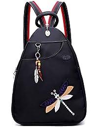 Mochila COOFIT para mujer, mochila antirrobo para mujer, mochila con bordado de libélula y auricular, puerto colgante de marfil, mochila antirrobo