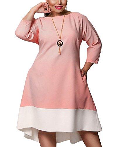 Donna elegante vestito abito al ginocchio maniche lunghe lungo abito da sera colori misti design girocollo grande swing abito pink 6xl