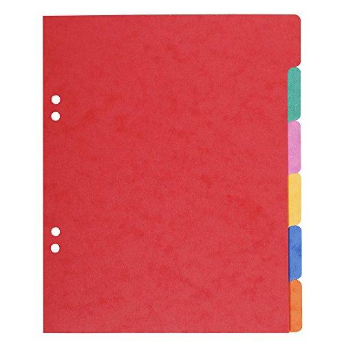 Exacompta 406E Register (Packung mit 6 farbigen Taben, Blanco, 220x170mm, Manila-Karton) 1 Stück