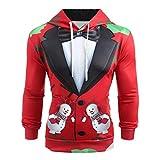 Herren Weihnachtsmotiv Hoodie Kapuzenpullover mit Sakko Muster,3D Druck Weihnachtspullover,Ugly Funny Xmas Sweatshirt Langarm Festlicher Jumper Pulli