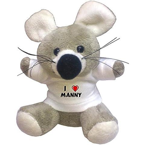 Llavero de ratoncito de peluche con Amo Manny en la camiseta (nombre de pila/apellido/apodo)