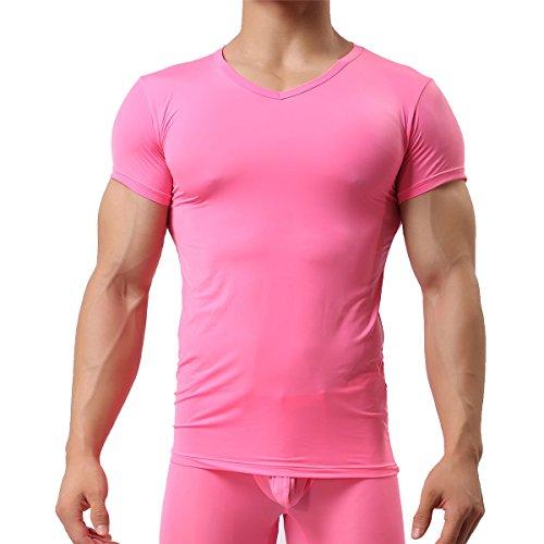 Herren Unterhemd aus Mesh Transparent Shirt Stretch T-shirt Unterwäsche Reizwäsche Rose
