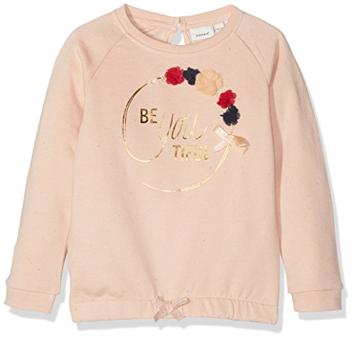 NAME IT Baby-Mädchen Sweatshirt NITFEFLA LS SWE TOP BRU Mini, Rosa (Evening Sand), 92