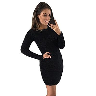 Damen Kleider, GJKK Damen Elegant Winter Langarm O-Ausschnitt Pullover Fleece Enges Jersey-Kleid Basic Warmes Grundlegendes kurzes Minikleid