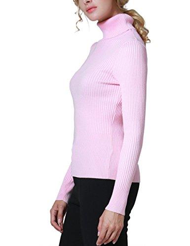 Rocorose Damen Langarm Gerippter Basic Rollkragen Pullover Rosa