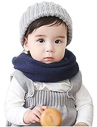 Butterme Invierno Cálido Bebé Niños Punto Color Sólido Cuello Calentador Infinito Lazo Círculo Bufanda(Armada)