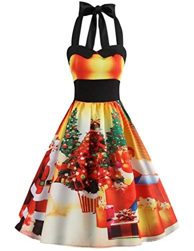 LeaLac Damen beiläufige baumwolle mit hohen taille halter weinlese v-ausschnitt, ärmellos weihnachten halloween plus size swing-kleid l208-new us 10 = (tag xl) d3071