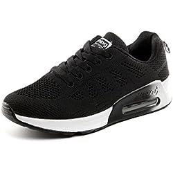 Zapatillas de Deportivos de Running para Mujer Gimnasia Ligero Sneakers Air Cushion Negro Azul Gris Blanco Negro-1 39