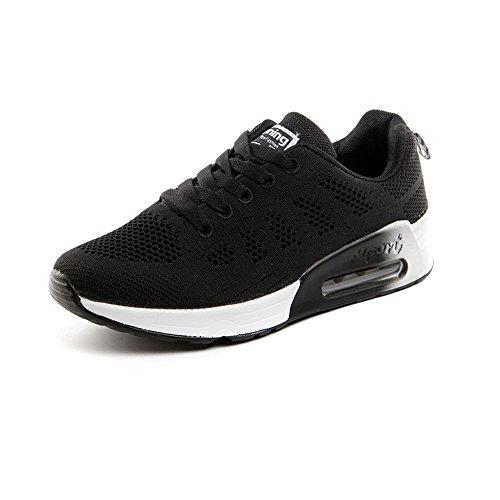 PAMRAY Damen Fitness Laufschuhe Sportschuhe Schnüren Running Sneaker Netz Gym Schuhe Air Cushion Schwarz Blau Grau Weiß Schwarz-1 34