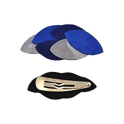 Barrette Clip Cheveux AVA Night Pétales Cuir Anémone Bleu électrique étain Clémence Cabanes