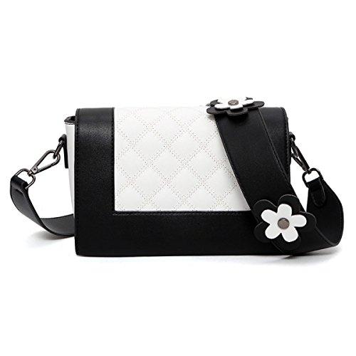 Nuovo Colore Colpito PU borse Semplice Colore Combattimento Cinturino Largo Moda Spalla Messenger Borsa Quadrata Black