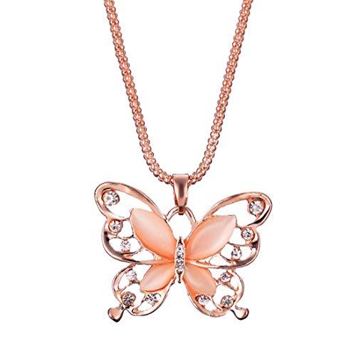 Yvelands Lady Rose Gold Opal Schmetterling Anhänger Halskette Pullover - Cool Cheshire Cat Kostüm