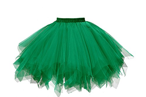 Grün Damen M&m Kostüm - MuseverBrand 50er Vintage Ballet Blase Firt Tulle Petticoat Puffy Tutu Dark Green Small/Medium
